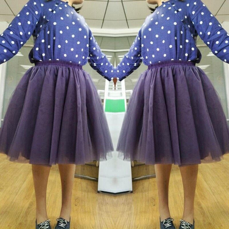 100% Real Picture Dark Purple Knee Length Tulle Skirt 5 Layers One Lining Custom Made Girl Skirts High Quality Maxi Tutu Skirt