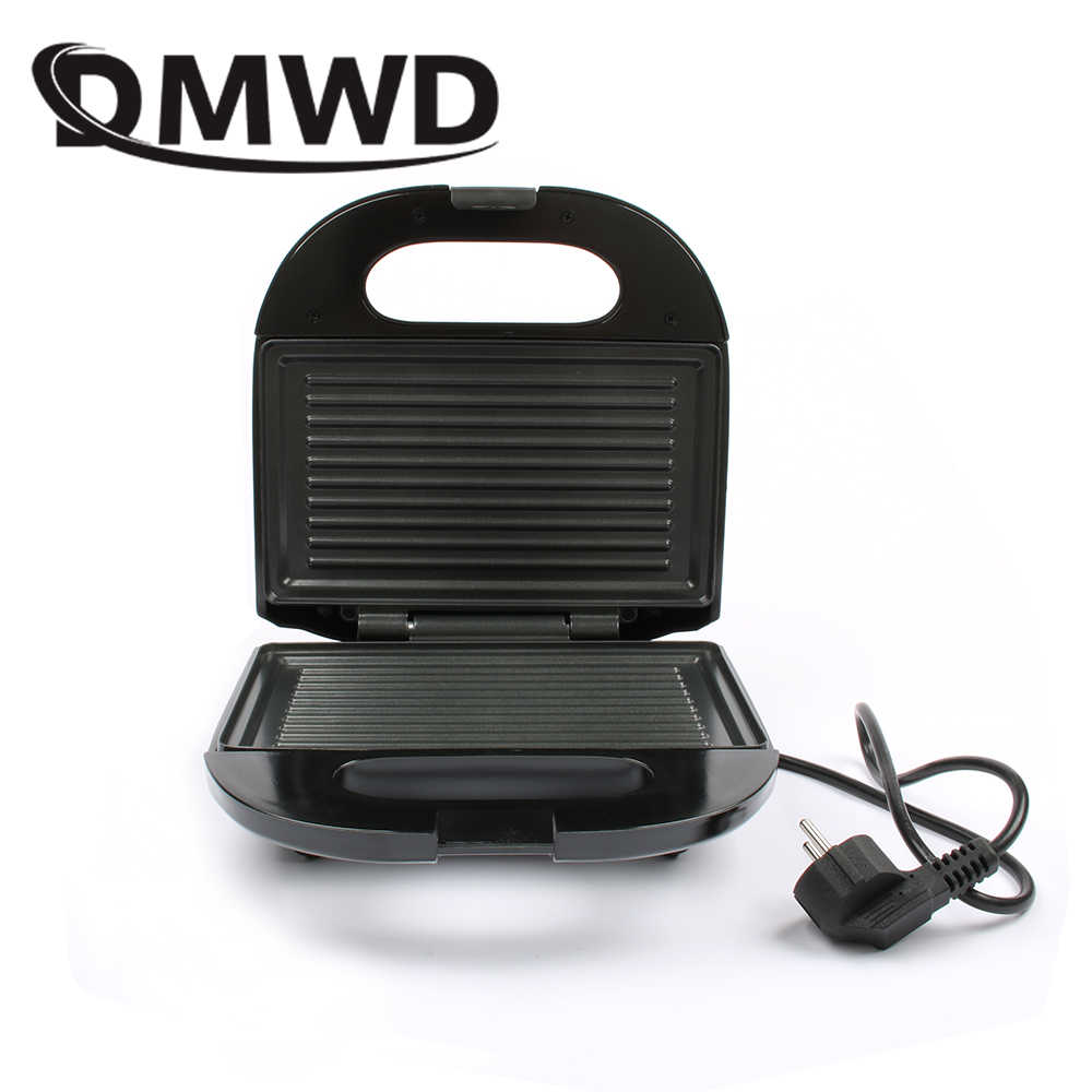 DMWD Mini sándwich eléctrico Grill Panini antiadherente Pan tostadora gofres pastel de desayuno máquina bistec de barbacoa horno de fritura UE