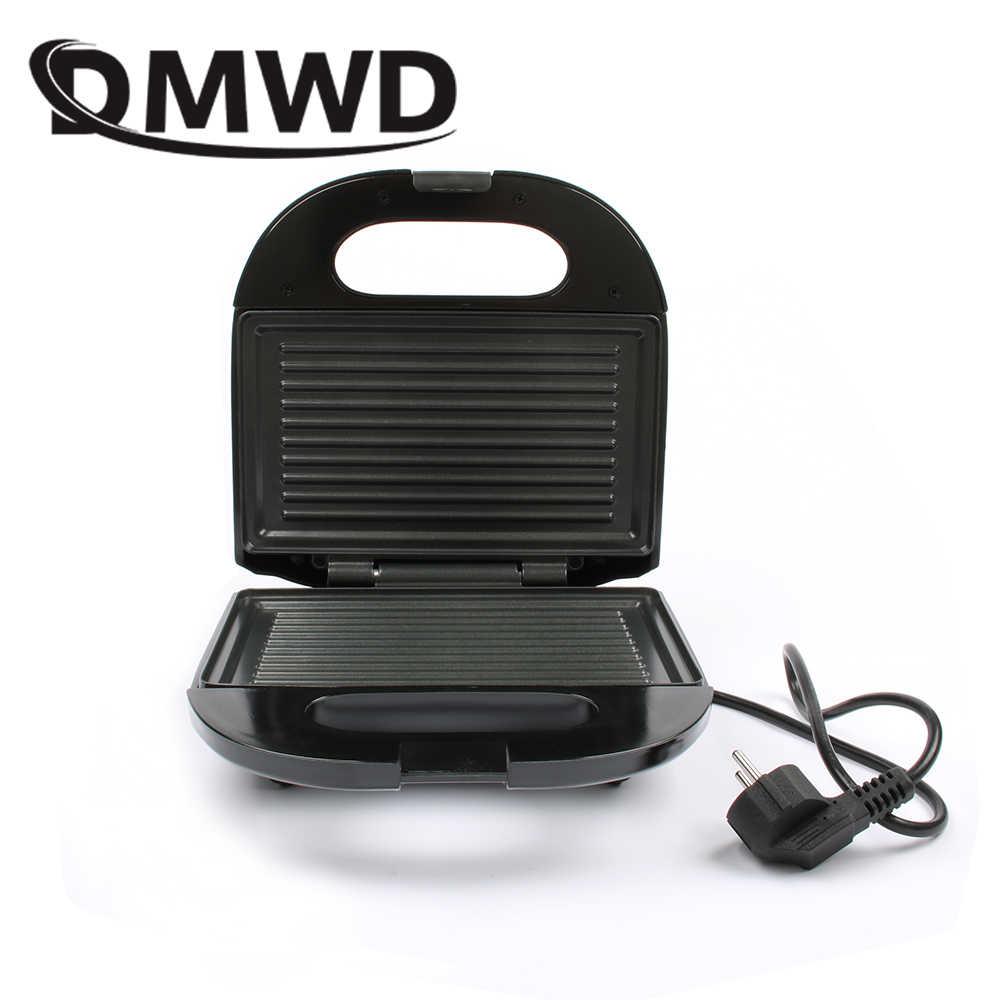 DMWD elektryczny Mini toster Grill Panini non-stick Pan gofrownica toster ciasto urządzenie śniadaniowe Grill stek smażenia piekarnik ue