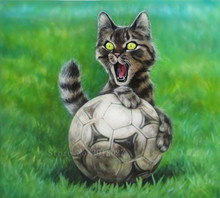New 5D Diamond Embroidery Cat Play Football Diy Painting Cross Stitch Full Square Mosaic Decoration Resin Gifts