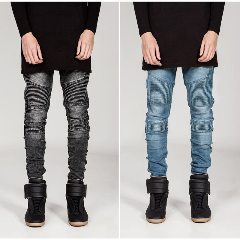 YYFS Men's Jeans Skinny Jeans Men Folded Slim Racer Ripped Biker Jeans Strech Hiphop Jean Homme Pencil Pant Male Pants For Men jeans men slim straight ripped jeans male hole jean pants casual denim trousers high quality all match long men s biker jean 54