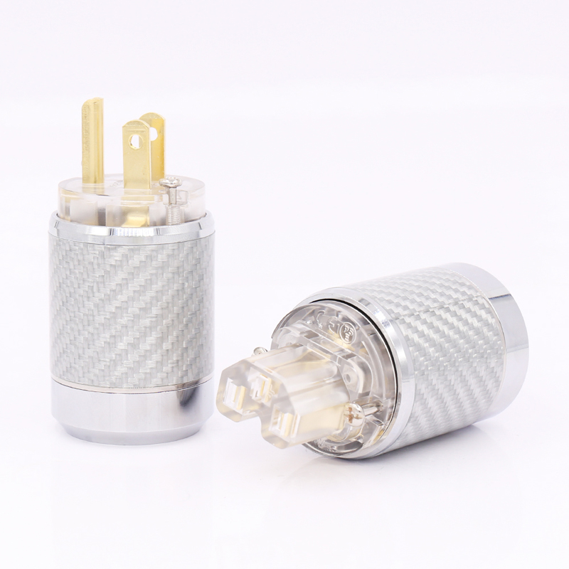 Free shipping Carbon Fiber Gold Plated US version European standard AC Power Plug IEC Female Plugor high quality gold plated us power plug connector us mains power ac cord plug iec female connector pair