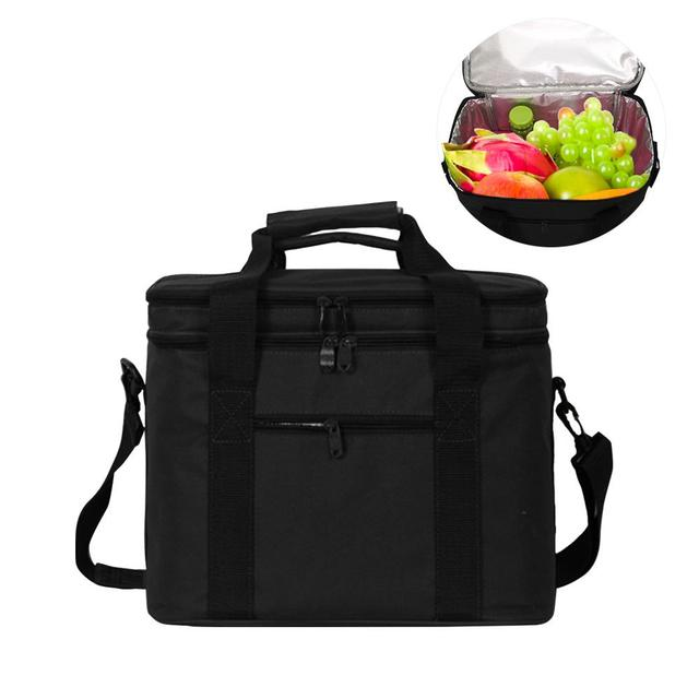 Big Double Layers Cooler Bag Vehicle Insulation Shoulder Bag Large Picnic Lunch Cool Handbag Insulated Food Ice Pack Thermo Bag