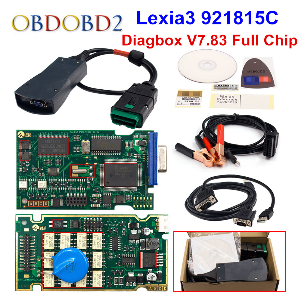 Golden Diagbox V7 83 Lexia3 PP2000 Firmware 921815C Lexia 3 For Citroen For Peugeot Car Diagnostic Tool Free Ship