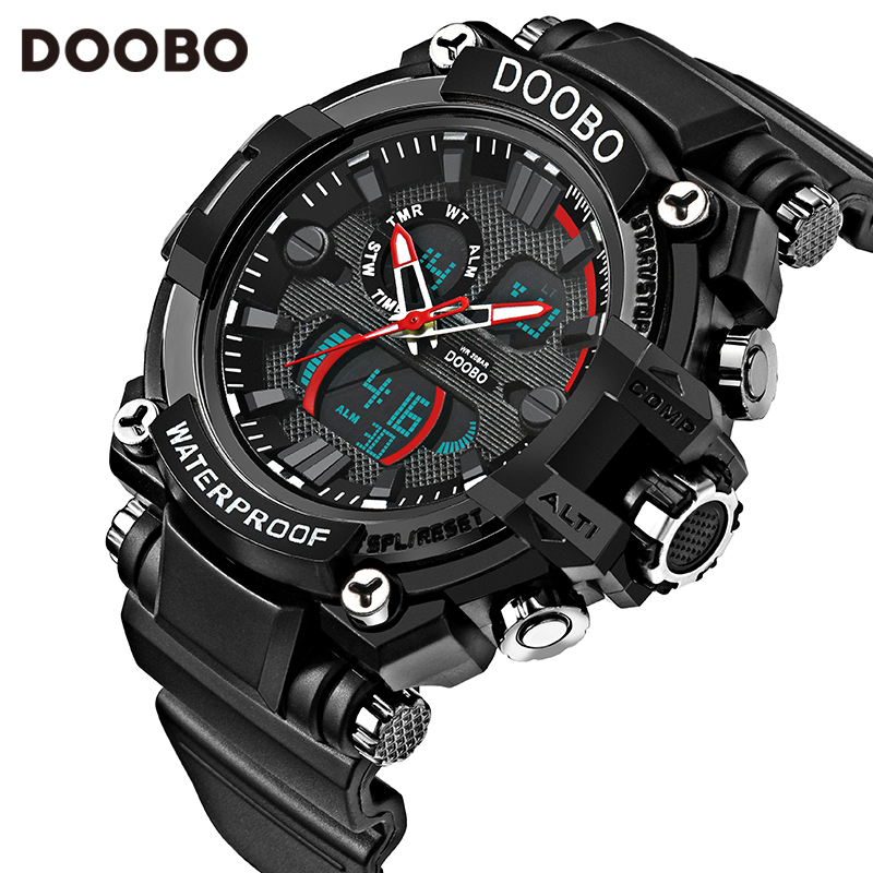 2017 Men Quartz Digital Watch Men Sports Watches Relogio Masculino DOOBO S Shock Relojes LED Military Waterproof Wristwatches hoska hd030b children quartz digital watch