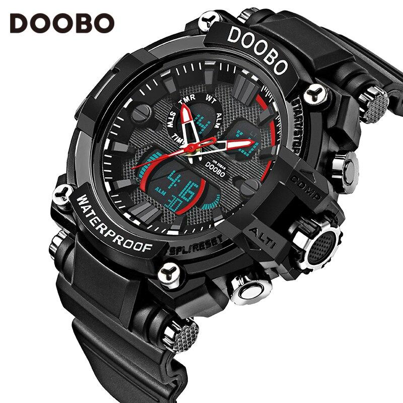 Hombres cuarzo Digital Reloj hombres Relojes deportivos Relogio Masculino DOOBO S Relojes LED impermeables militares