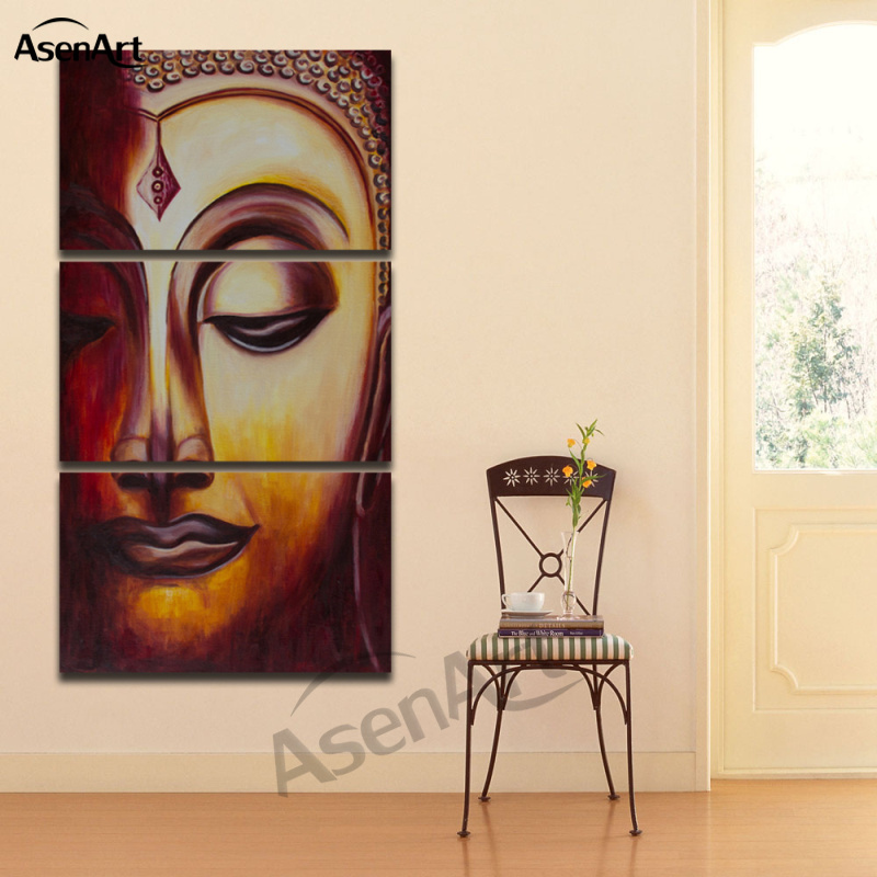 3 Panel Buddha Wall Art Canvas Painting Printed Buddha Face Wall Pictures for Living Room No Frame
