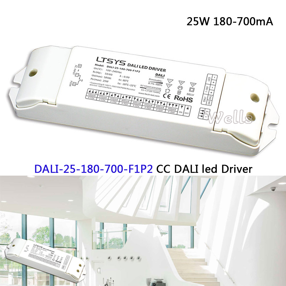 25W 180-700mA CC DALI Driver(1-10V) ;DALI-25-180-700-F1P2;AC100-240V input; CC DALI led Dimming Driver power цена 2017