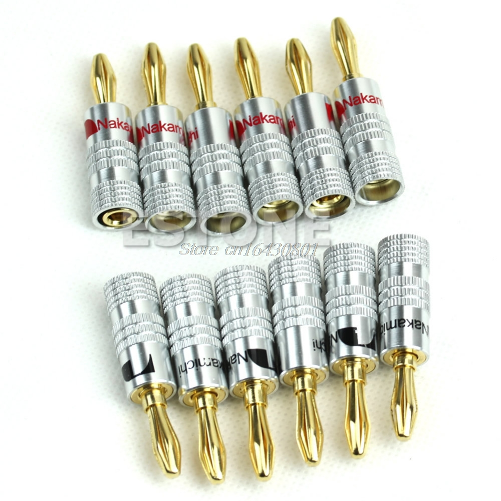 New 12x Golden Nakamichi Speaker Banana Plug Connector Adapter Connectors S08 Wholesale&DropShip