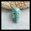 Natural Stone Chrysocolla Carved  Skull Cabochon,24*14*7mm,3.9g natural stone cabochon chrysocolla carved skull