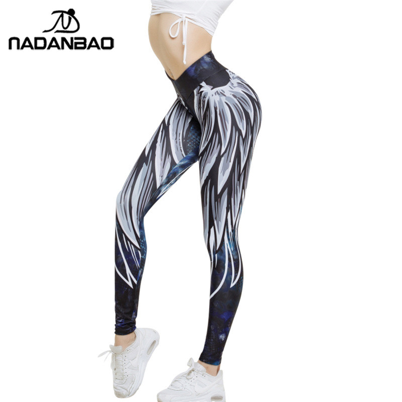 NADANBAO New Arrival Angel Wing Women Leggings Harajuku 3D Printed Leggins Push Up Sporting Fitness Bodybuilding Sexy Woman Pant