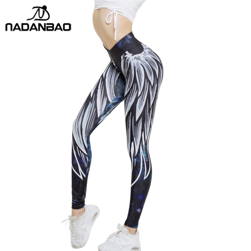 NADANBAO New Arrival Angel Wing Women   Leggings   Harajuku 3D Printed Leggins Push Up Sporting Fitness Bodybuilding Sexy Woman Pant