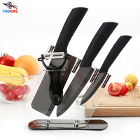 FINDKING Brand New 4 6 6.5'' inch+peeler+Acrylic Holder fruit Chef Kitchen Ceramic Knife Set kitchen cooking tools