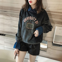 Korean fashion gold velvet fake two pieces of Sweatshirts female students embroidered letters cowboy stitching