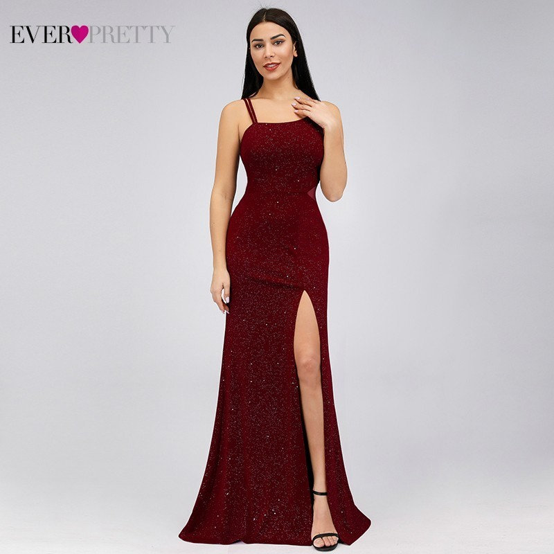 Burgundy Mermaid Evening Dresses Long Ever Pretty EP07887BD High Split Sleeveless Sparkle Women Formal Dresses For Party Abiye