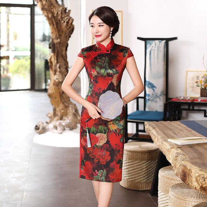 1af10e98229b Rayon Länge Qipao Sommer Schlank Kleider Stil Mode Frauen 2019 3xl ...