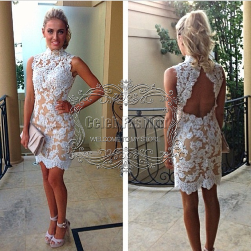 8e4ef68a36b E2020 Sexy off the shoulder high neckline open back short white lace prom  dress
