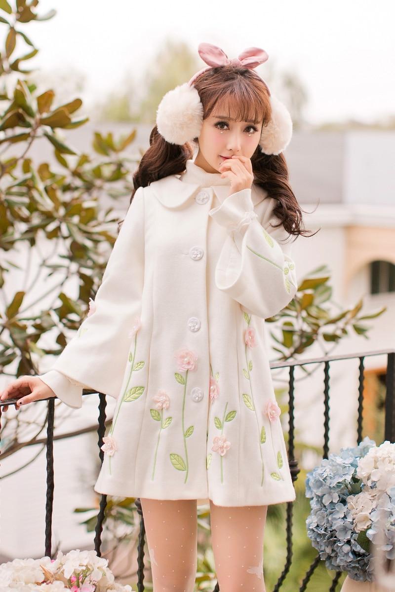 Princesse douce lolita manteau de laine Long manteau de laine et bonbons doux pluie mince manteau de laine revers broderie fille chaude vent C22CD6192