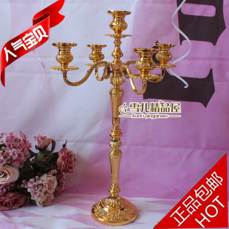 New European Gold High Foot 52 Cm Five Head Of Home Furnishings Ktv Hotel Wedding Birthday