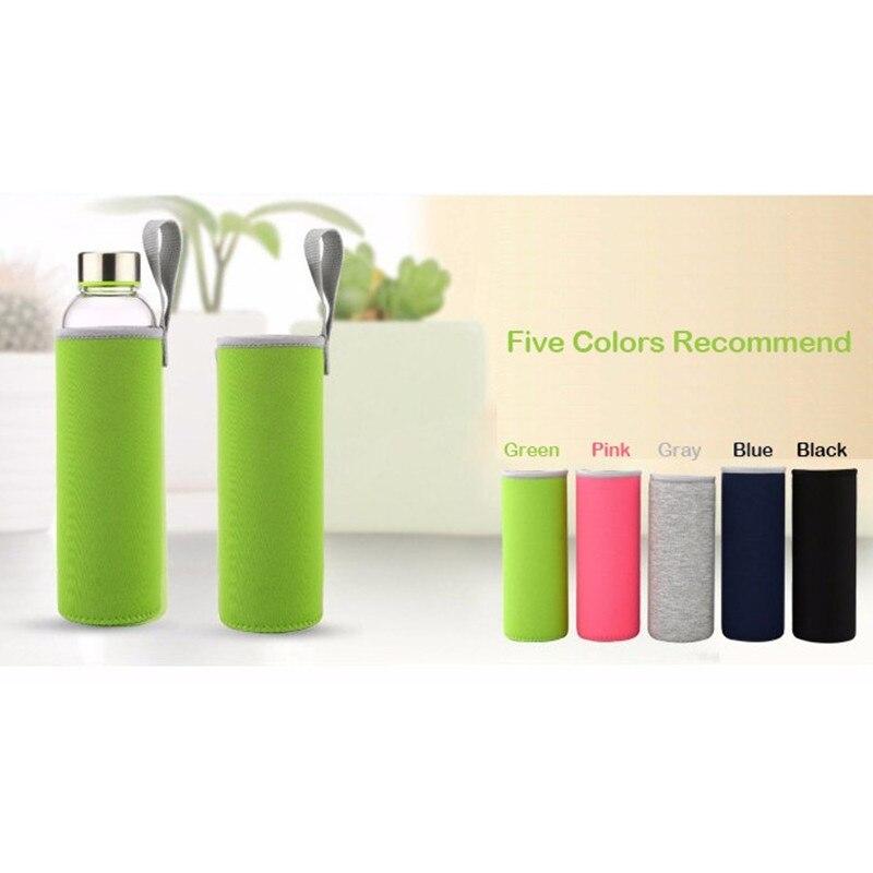 ᗐBouteille D eau en verre avec sac de protection 280 ml, 360 ml ... 21df9a67c820