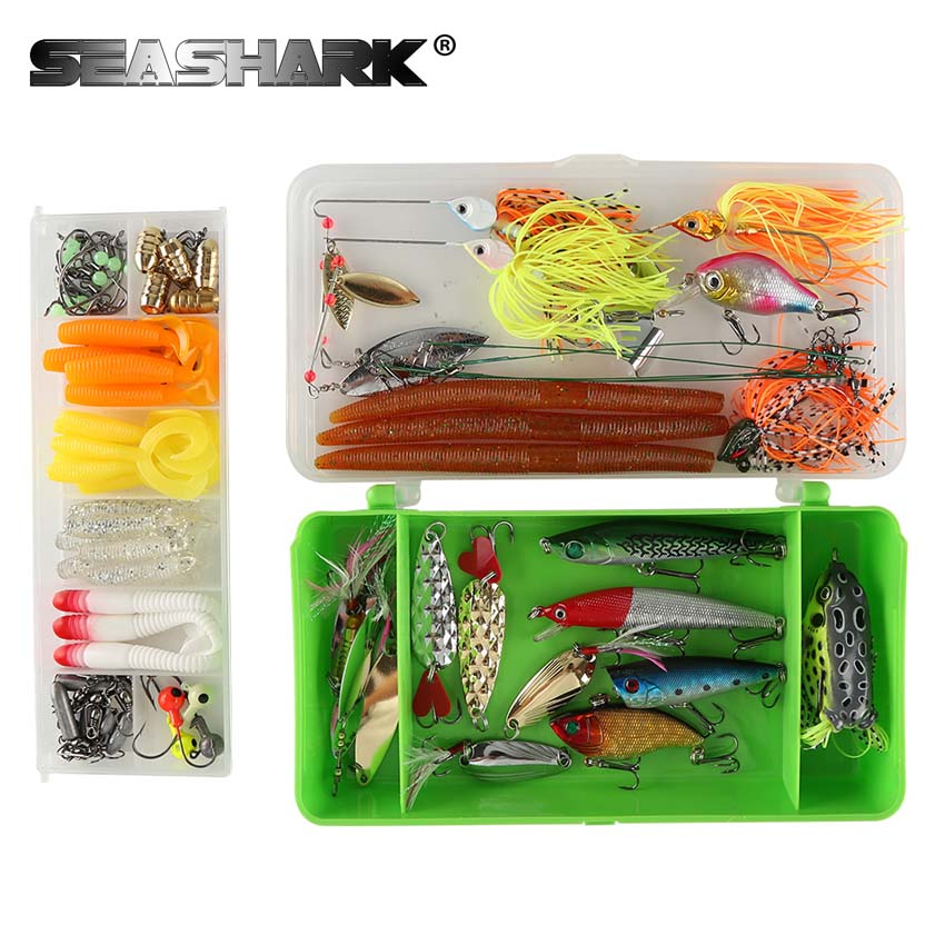 SEASHARK 102pcs/set Lure Set Soft Lure Hook Artificial Fishing Lure Fishing Tackle Lures with Box For Fishing Accessories goture 175pcs box fishing lure kit minnow spoon crank jig fog spinner bait fishing hook soft lure with fishing tackle box