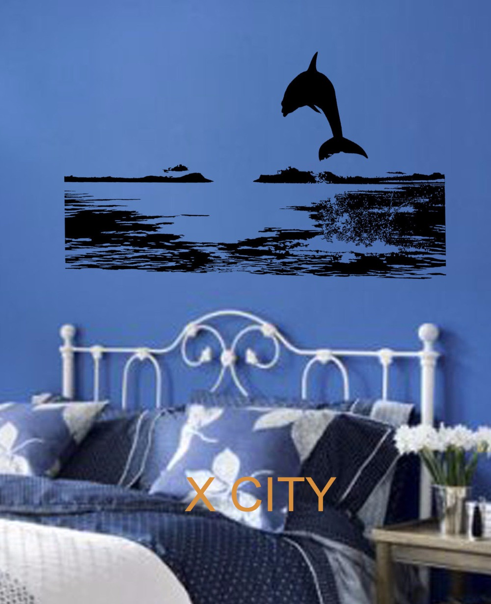 Online get cheap dolphin wall decal aliexpress alibaba group jumping dolphin sea scenery vinyl wall decal art decor sticker living room door stencil mural s m l amipublicfo Image collections