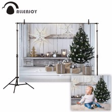 Allenjoy photography background Wooden candle Christmas tree gift winter backdrop Christmas party Photo background studio