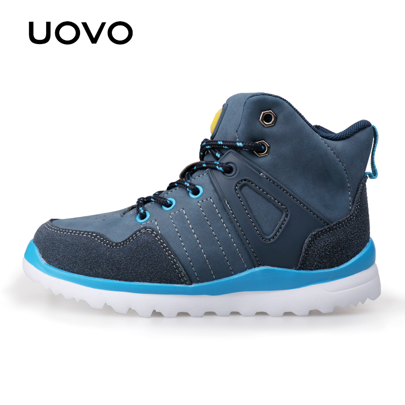 UOVO 2017 New Arrivals Autumn Winter Kids Casual Sneakers Light-weight Fashion Boys Shoes Lace-Up Casual Shoes For Eur 29#-37# glowing sneakers usb charging shoes lights up colorful led kids luminous sneakers glowing sneakers black led shoes for boys