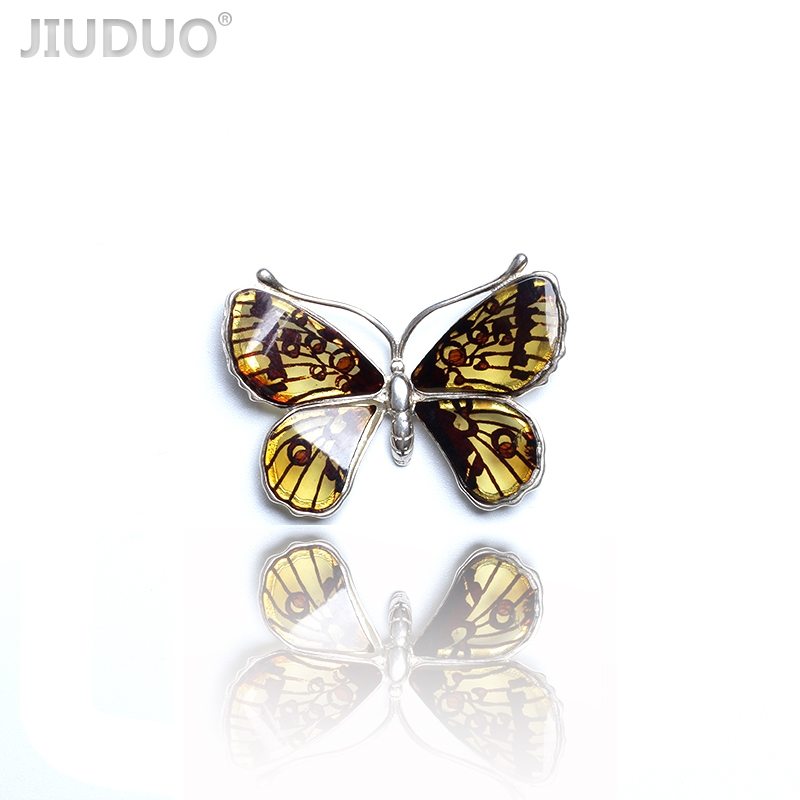 Exclusive design of natural Baltic amber beeswax female necklace pendant 925 silver inlay to support the re-examination