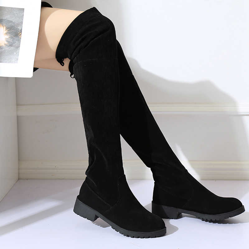 2018 NEUE Hohe Stiefel Weibliche Winter Stiefel Frauen Über das Knie Stiefel Flache Stretch Sexy Mode Schuhe Schwarz EUR34--43 reiten stiefel