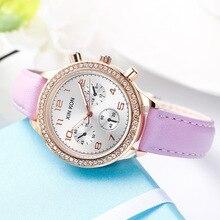Топ бренд класса люкс искусственная кожа женские часы Простой подарок платье Для женщин часы Relogio Feminino