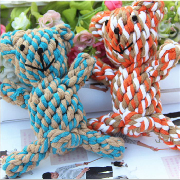 Dog font b Toys b font Handmade Knitted font b Pet b font Cotton Rope Bear
