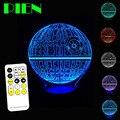 Guerras estrellas de la Muerte 3D Optical Illusion Lámpara LED de Varios colores lampara de mesa táctil usb con control remoto dc 5 v free gratis