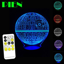 Stars Wars of Death 3D Optical Illusion LED Lamp Multi colored Touch USB Table lampara with Remote Control DC 5V Free shipping