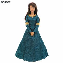 Fairy Tale Princess Dress Copy Brave Merida Outfit Long Sleeves Exotic Costume Clothes For Barbie FR Kurhn Doll Accessories Toy(China)