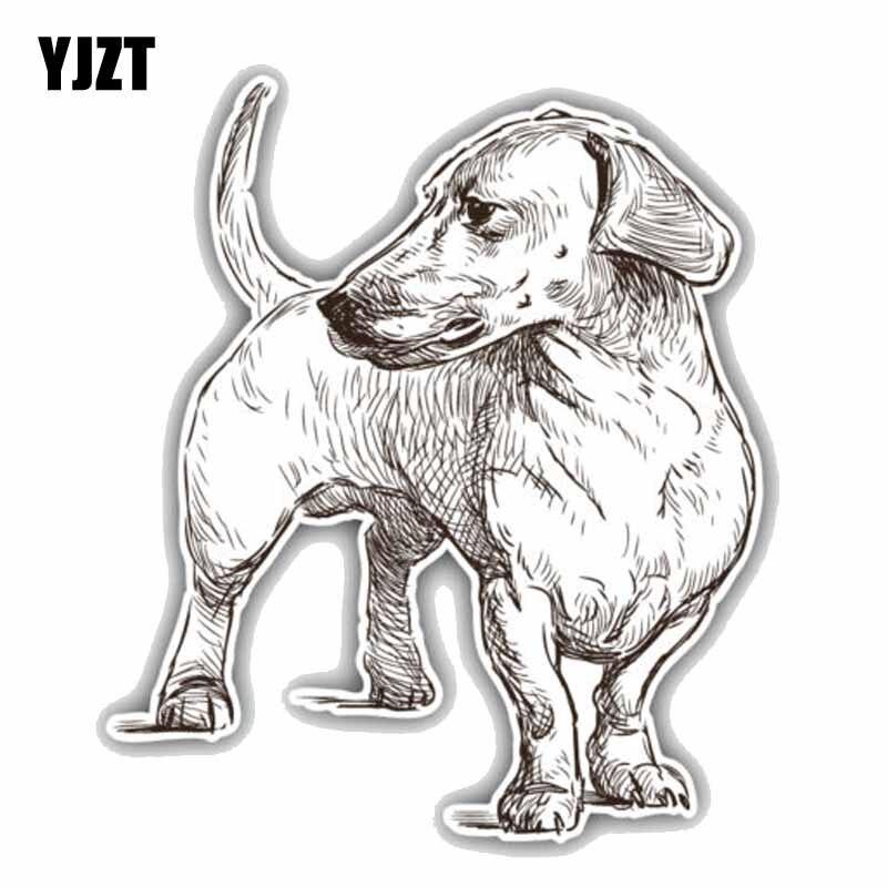 YJZT 15.7CMx18.4CM Dachshund Breed Dog Sketch Car Bumper Window Decoration Car Sticker C1-9018
