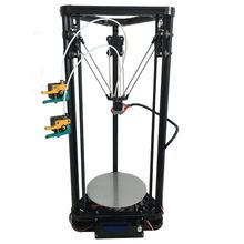 the most recent design HE3D full steel extruder E3D hotend Ok200 twin heads delta 3d printer equipment with heatbed- help multi materials