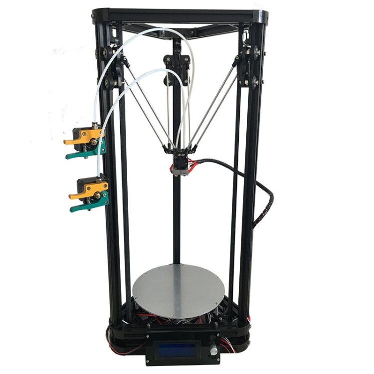 the newest design HE3D full metal extruder hotend K200 dual heads delta 3d printer kit with