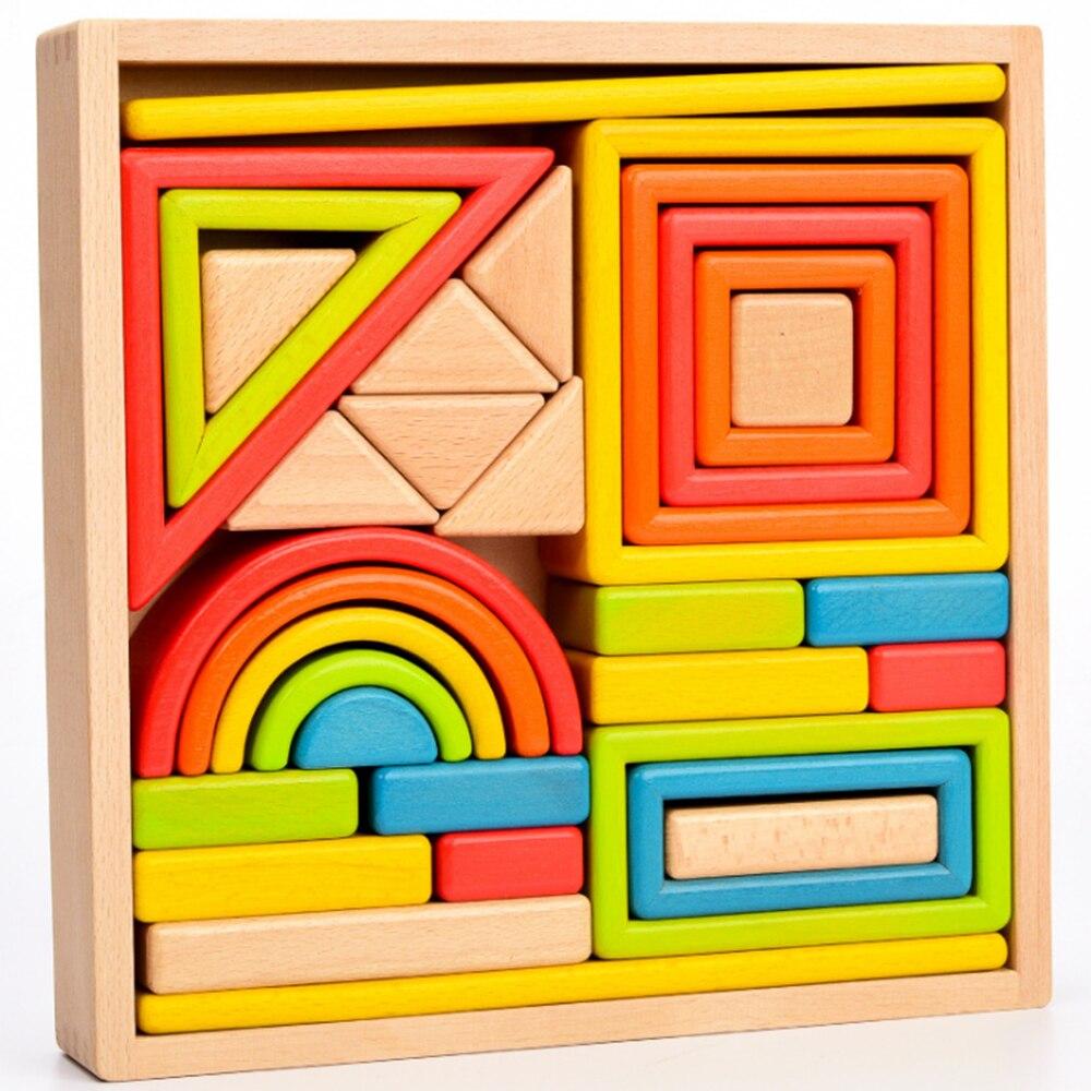 Montessori jouets en bois enfants jeu jouet enfants coloré diverses formes blocs en bois illumination éducatif bloc de construction jouet
