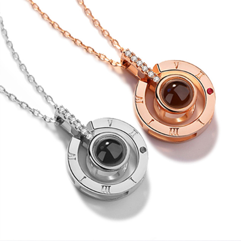 Necklace Romantic Memory Projection Pendant Wedding-Jewelery Rose-Gold Silver 100-Languages