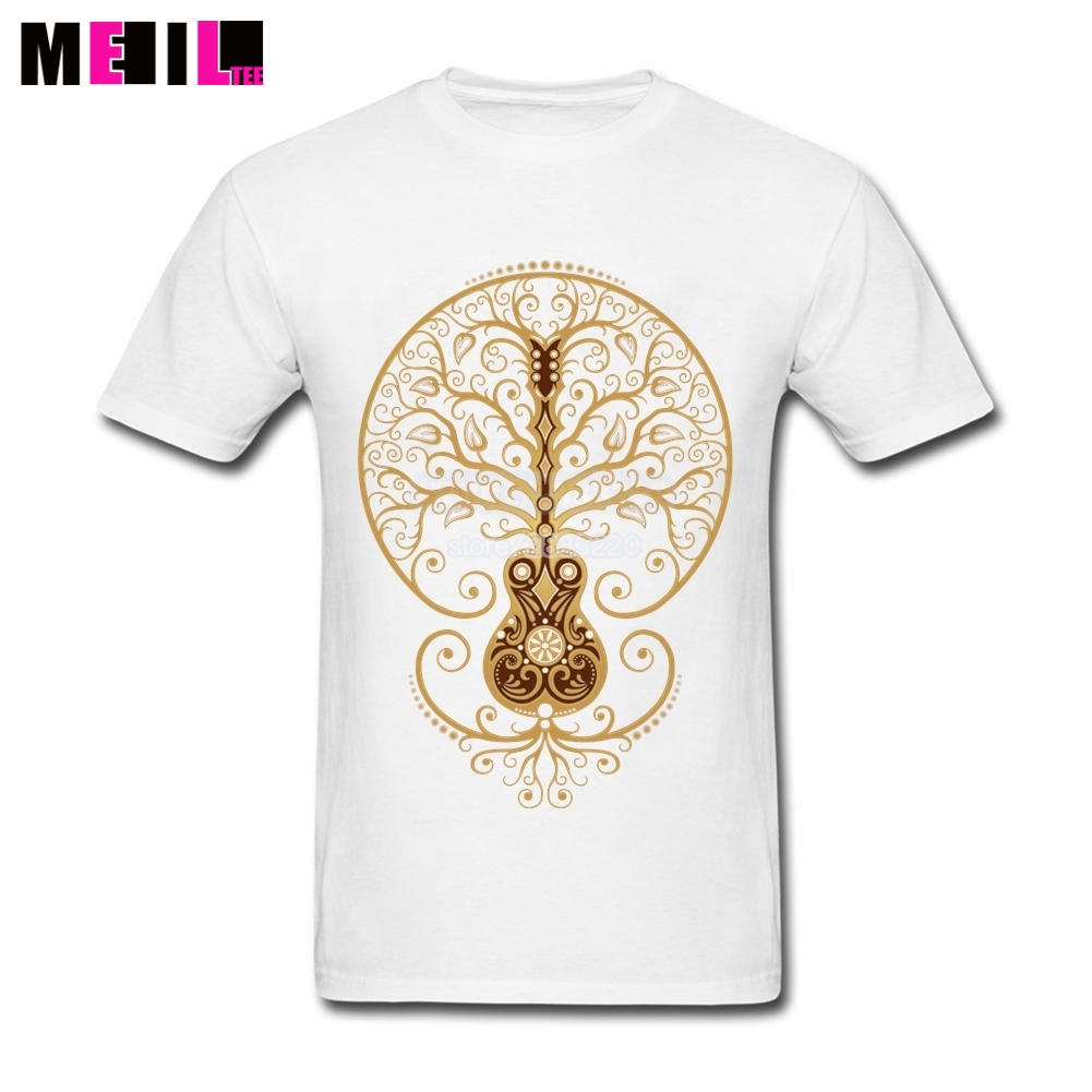 Funny Acoustic Guitar Tree of Life Plus Size T-shirts Male Short-Sleeves t-shirt