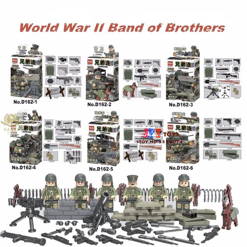 6pcs World War 2 US Armed Force Commando Normandy Fight Weapon Military Army building blocks bricks toys for children juguetes