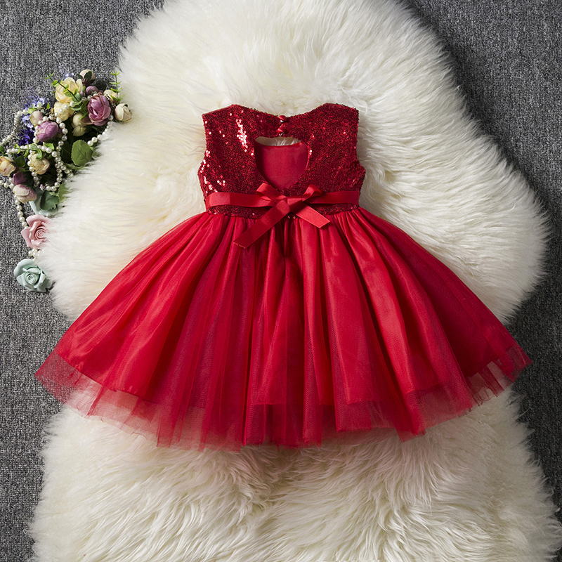 2019 Kids Baby   Flower     Girl     Dress   Sequins   Dress   Tutu Princess   Girls   Clothes Little Princess Ceremony Children Wear 1 to 5 Years