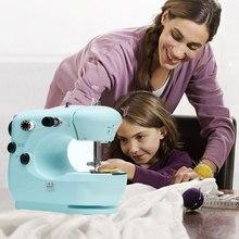 Мини-швейная машина, профессиональная плотная ткань, портативная синяя швейная машина для детей, Крафтовая машина для починки maquina de costura