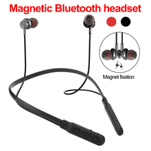 цена на 40 PCS Wholesale Bluetooth Earphone Sport Wireless Headphones for iPhone Neckband Magnetic Headset Handfree Earbuds with Mic