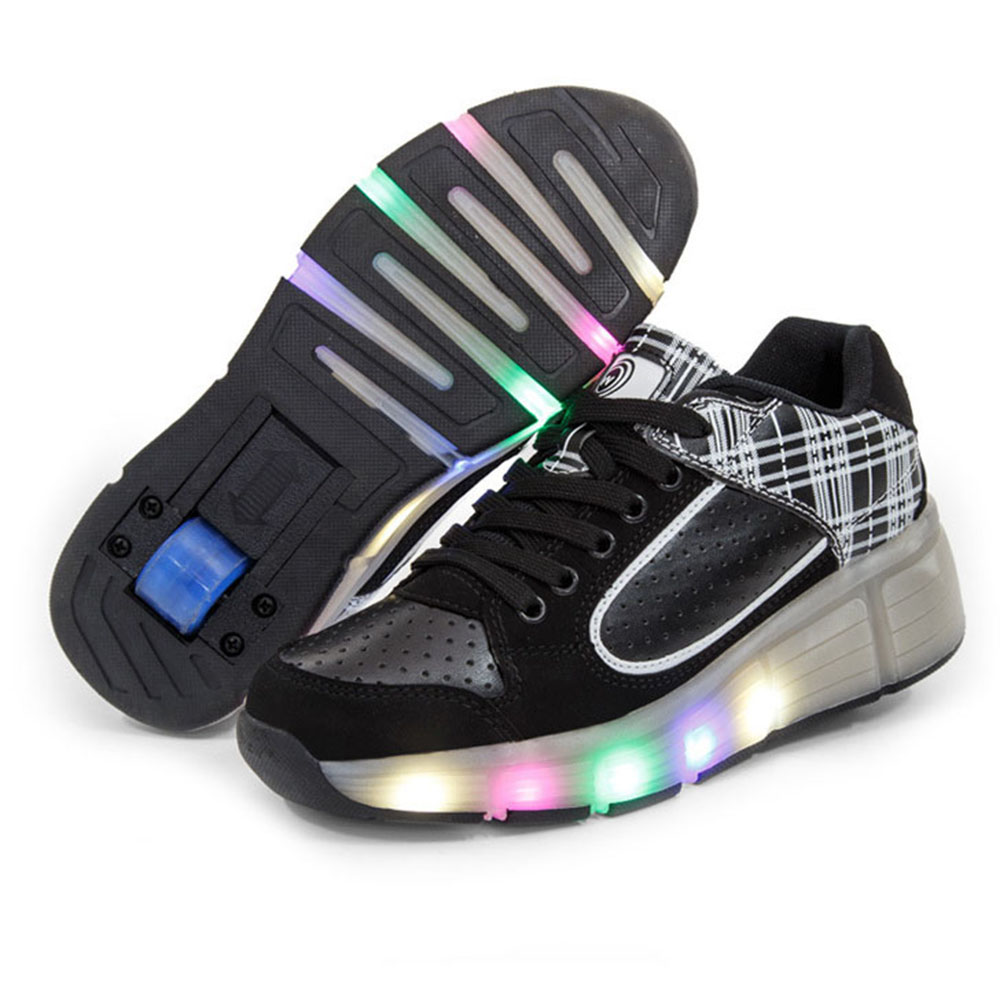Roller shoes cheap - New Glowing Sneakers Children Shoes With Wheels Kids Led Light Up Roller Shoes For Boys Girls