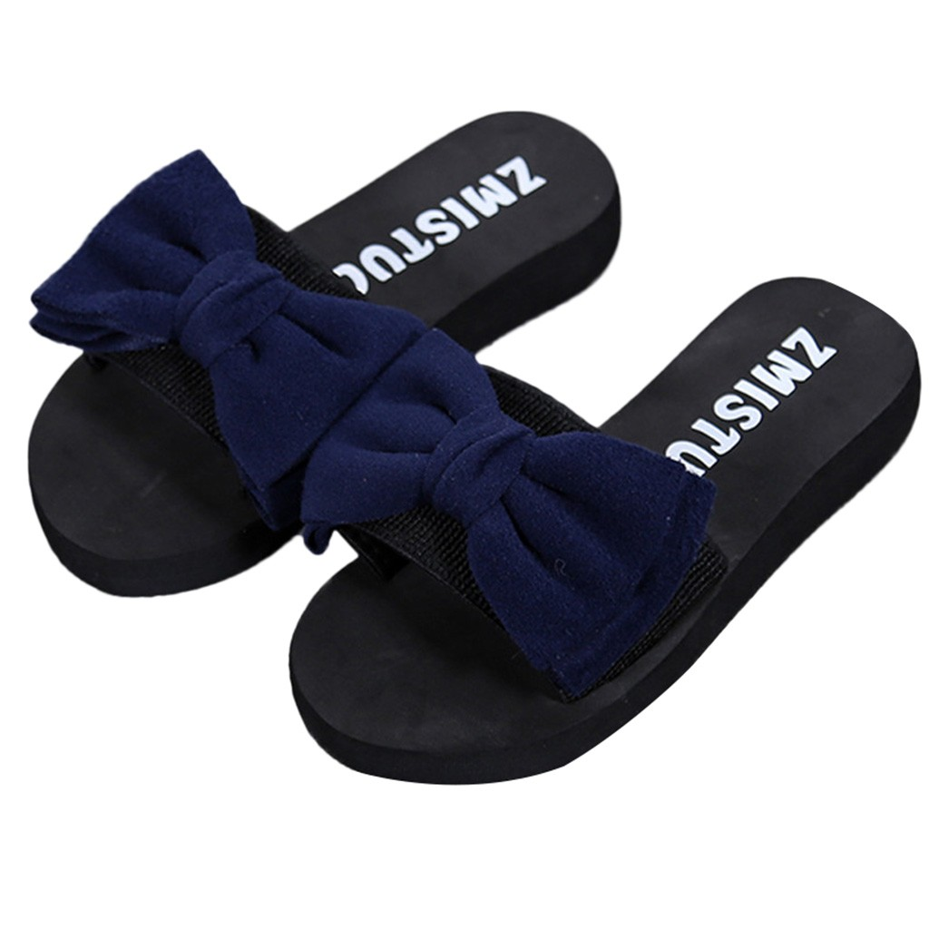 Women Bow Summer Sandals Slipper Indoor Outdoor Flip-flops Beach Shoes New Fashion Female Casual flower Slipper chanclas 3.747