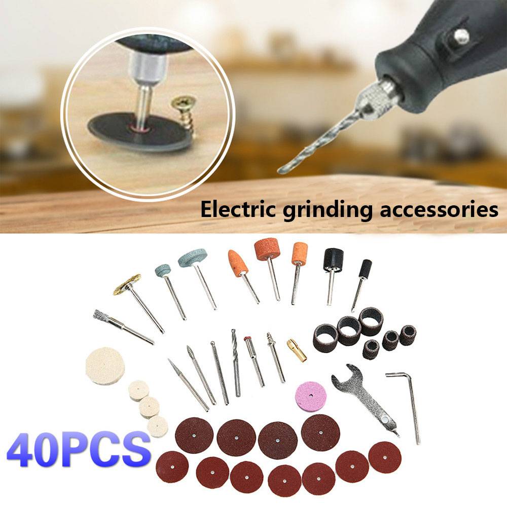 Practical 40pcs Electric Suit Tool Kits Colour Plastic Carpenter Grinding Wheel Renovation DIY