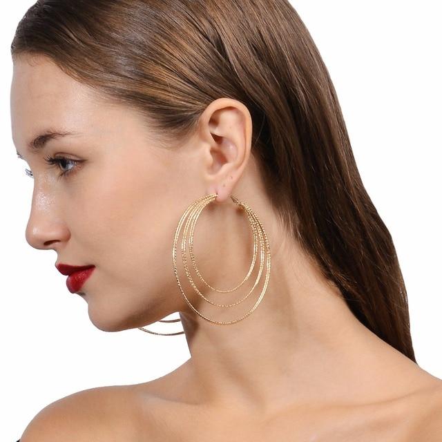 bd0a95ef3968 Pendientes grandes del aro para las mujeres huggie pendientes círculo  Boucles d oreille aros largos