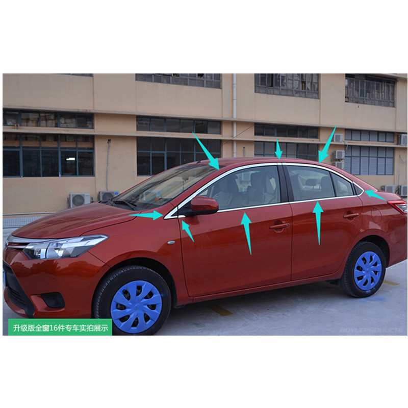 High-quality stainless steel Strips Car Window Trim Decoration Accessories Car styling   For 2013-2016 Toyota Vios( 16 piece) high quality stainless steel strips car window trim decoration accessories car styling for 2007 2013 toyota corolla 14 piece